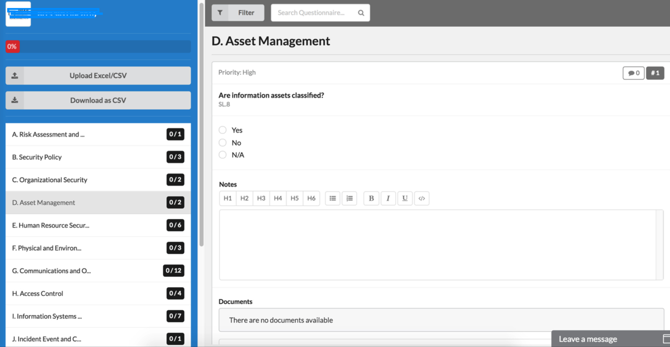 Feature - Create Finding from Online Assessment Items - Compliance